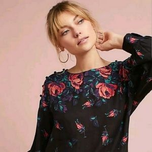 Maeve Linen Blend Floral Print Long Sleeve Blouse